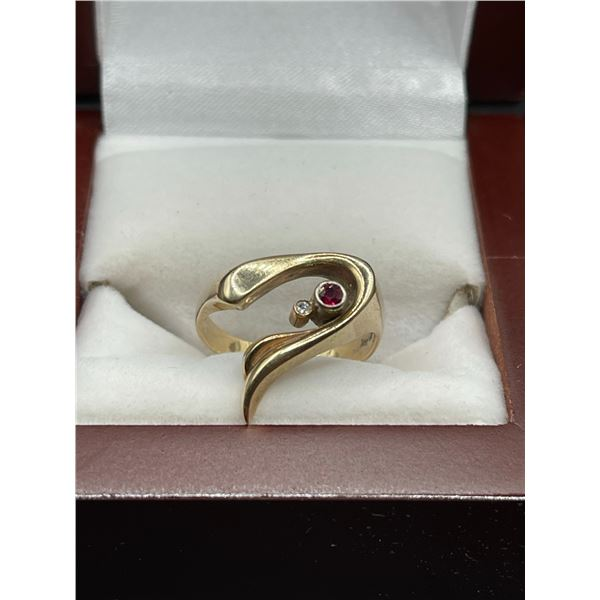 14K 5.6 G Diamond Ruby Ring