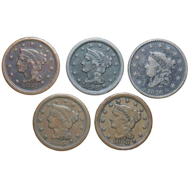 1826, 1848, 1851, 1853, 1855 Coronet Head Cents