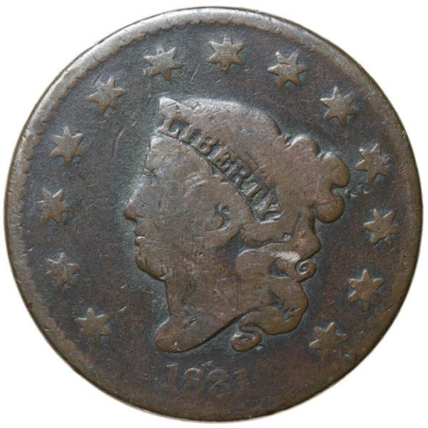 1831 Coronet Head 1c