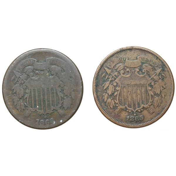 1864 Two Cents Lg Motto and 1856 Two Cents