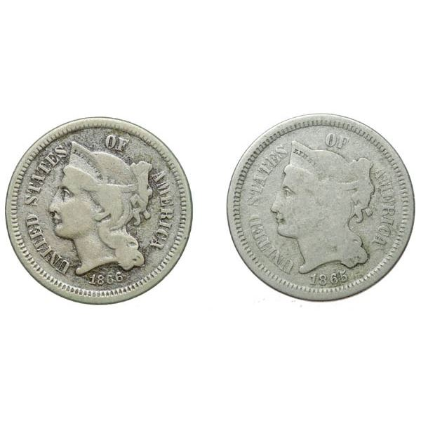 1865 and 1866 Nickel 3c