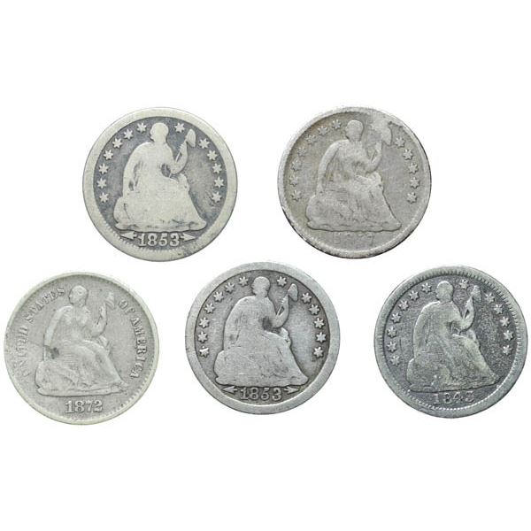 1843, 1853 (2), 1857, and 1872-S Seated Half Dimes