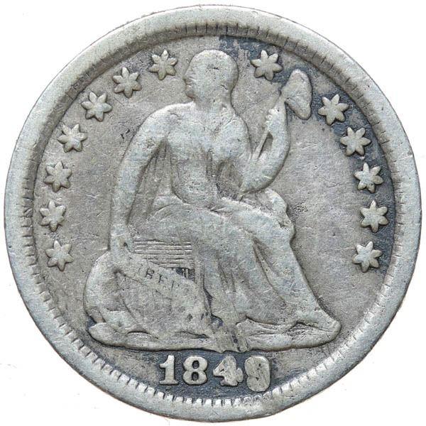 1849/6 Liberty Seated 10C