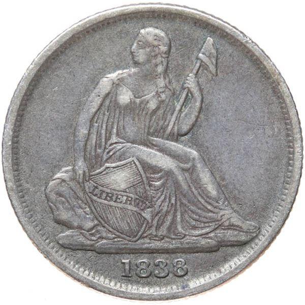 1838-O Liberty Seated 10c. No Stars