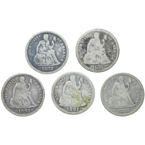 1871, 1875, 1876 and Two 1891-O Liberty Seated Dimes