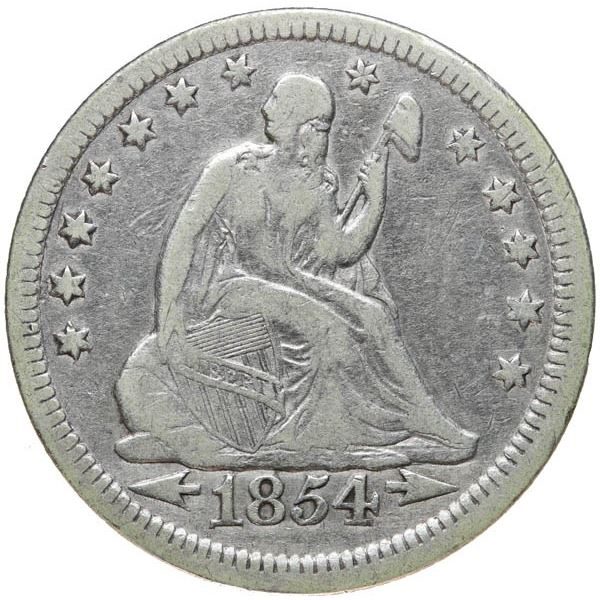 1854 Liberty Seated 25C Arrows