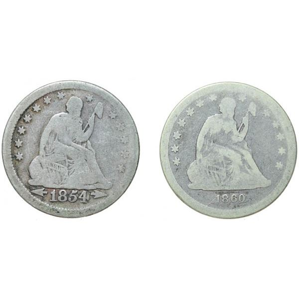 1854 Liberty Seated 25c Arrows and 1860 No Arrows