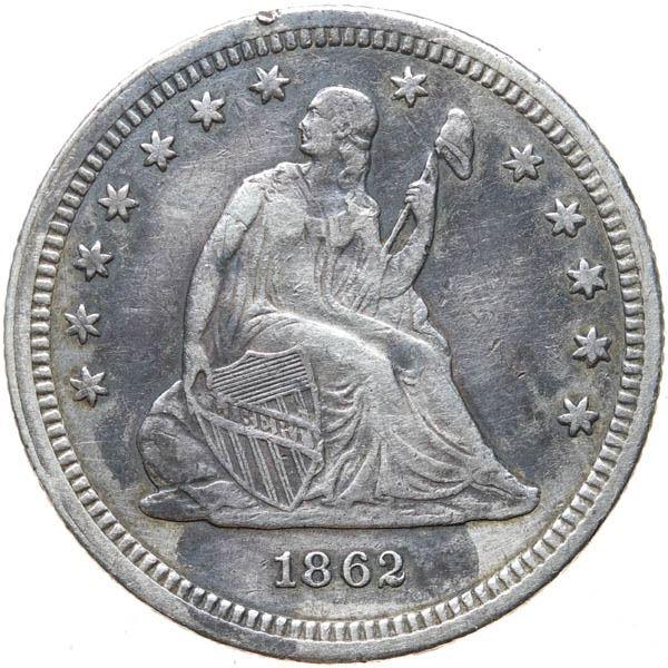 1862 Liberty Seated 25c