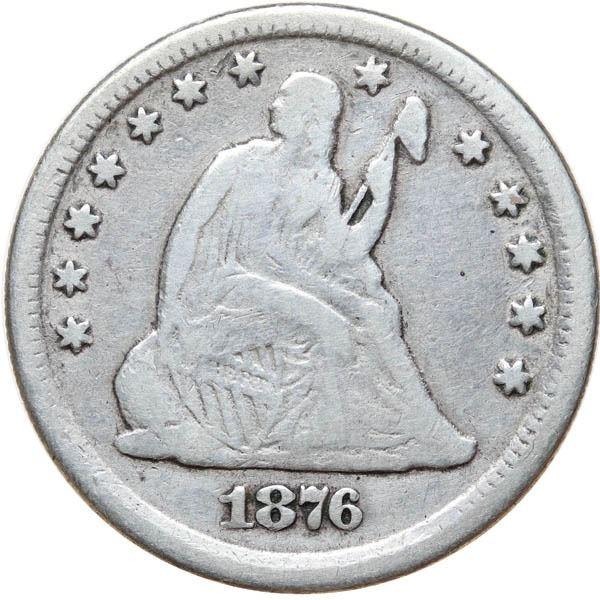 1876-CC Liberty Seated 25c