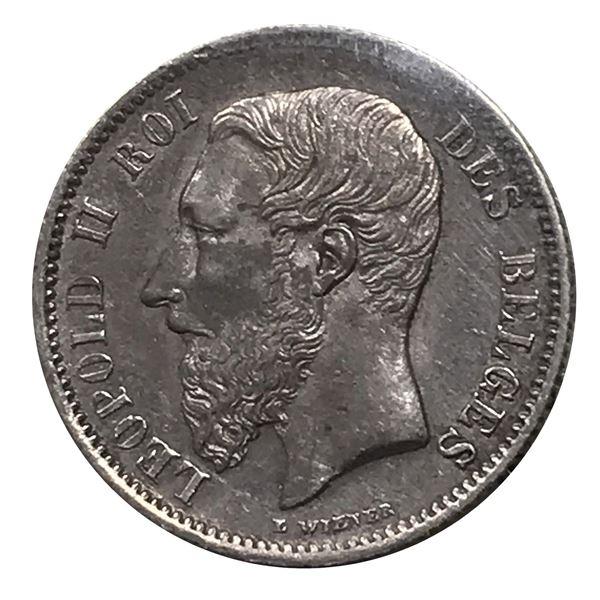 Belgium 50 Centimes 1886 - 8 over 6