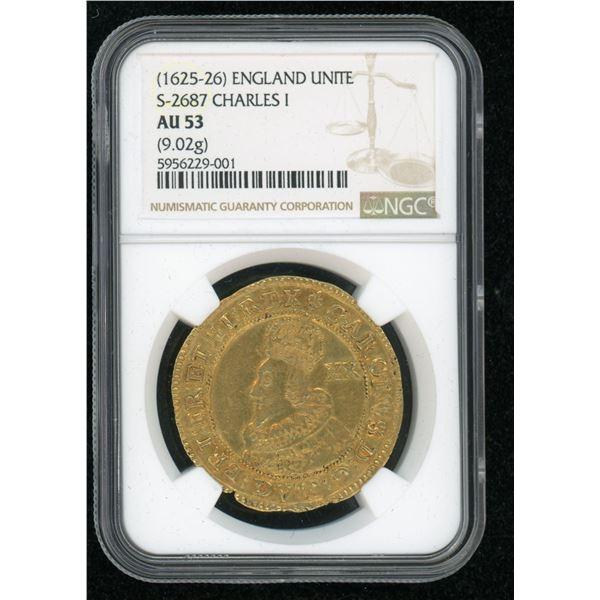 England Gold Unite of Charles I 1625-6