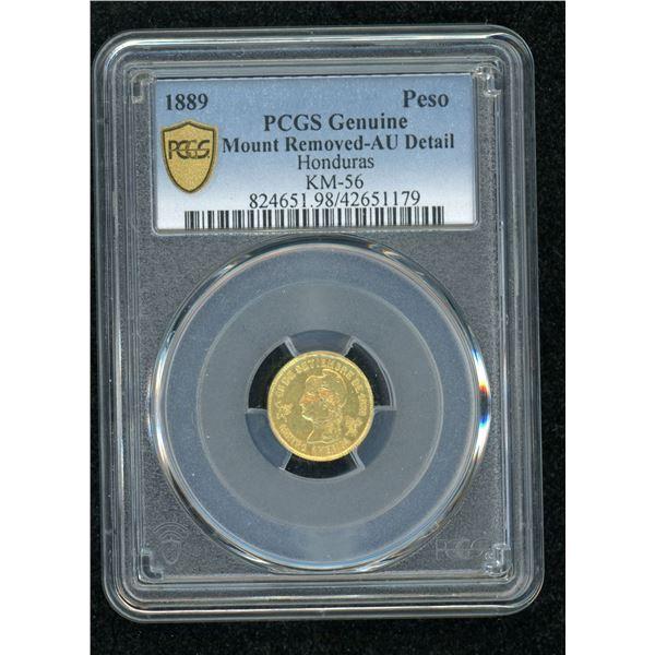 Honduras Extremely Rare 1889 Gold Peso