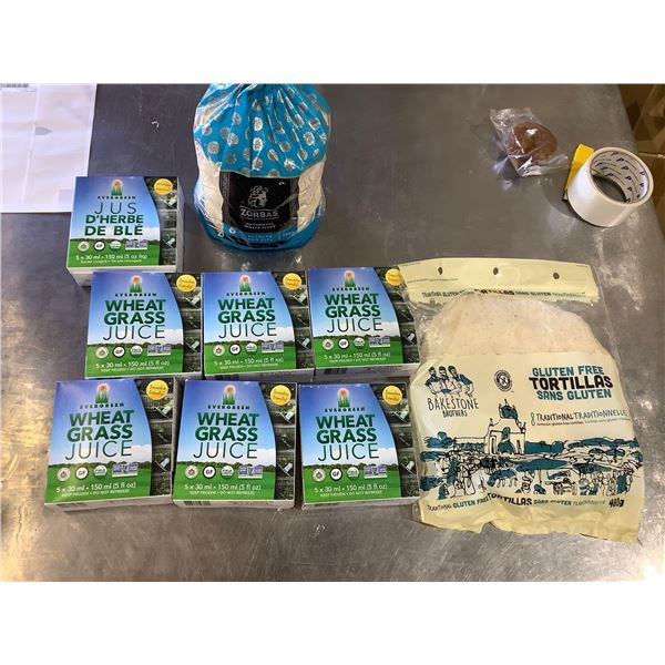 Frozen Wheat Grass Juice, Pitas, and Tortillas Lot of 9