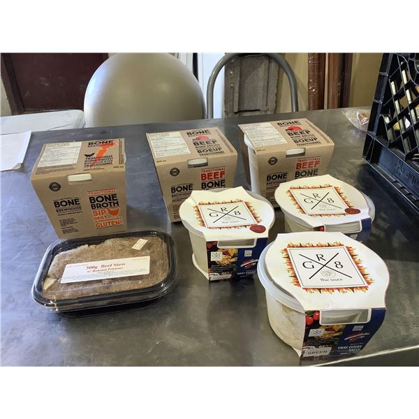 Frozen Thai Curry Sauce, Broth, and Beef Stew Lot of 7