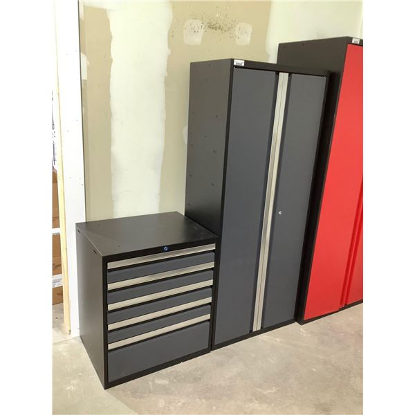 Metal Tool Box and Metal Storage Cabinet in Grey (28in x 22in x 32in and 30in x 18in x 72in)