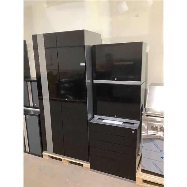 4-Piece Metal Cabinet Set in Black (28in x 22in x 32in and 28in x 14in x 22in and 28 x 14 x 28in and