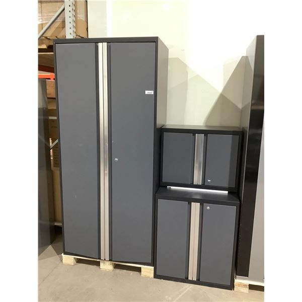 3-Piece Metal Cabinet Set in Grey (28in x 14in x 22in and 28in x 22in x 32in and 36in x 24in x 78in)