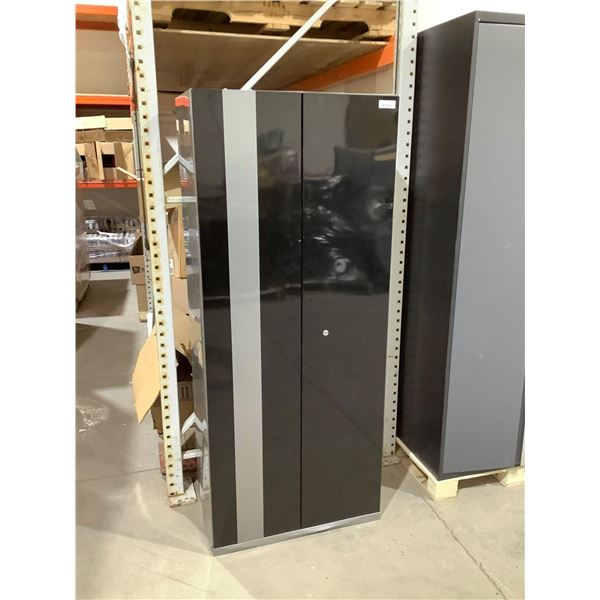 Metal Storage Cabinet in Black/Grey (30in x 18in x 71 1/2in)