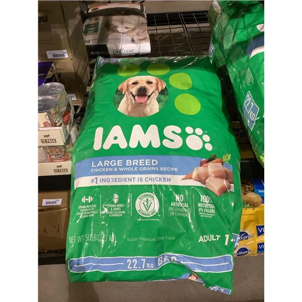 Iams Large Breed Adult Dog Food Chicken & Whole Grains Recipe (22.7kg)