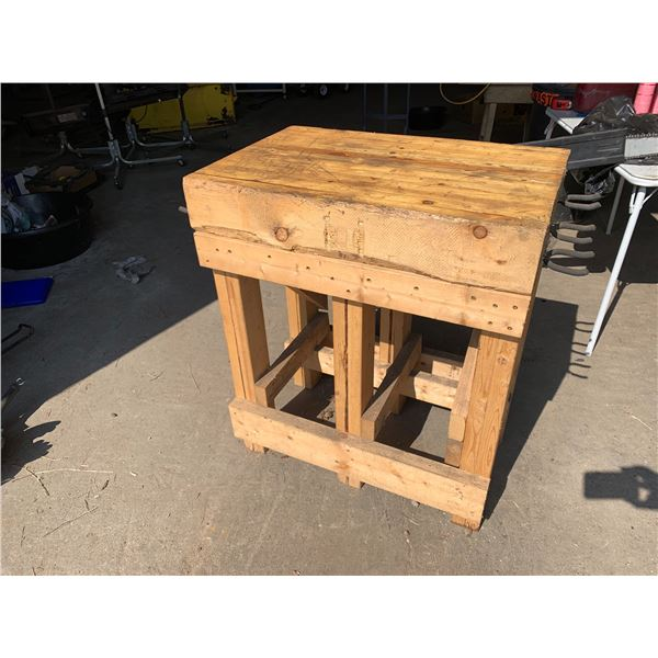 WOODEN WORKTABLE; MEASUREMENTS: 35.5 INCHES HIGH X 30 INCHES LONG X 19.5 INCH DEEP
