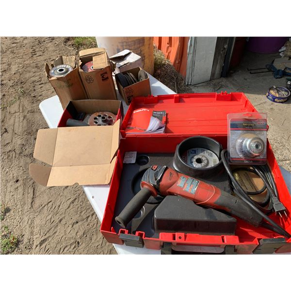 HILTI GRINDER; LOTS OF MISCELLANEOUS DISKS AND CUTOFF WHEELS