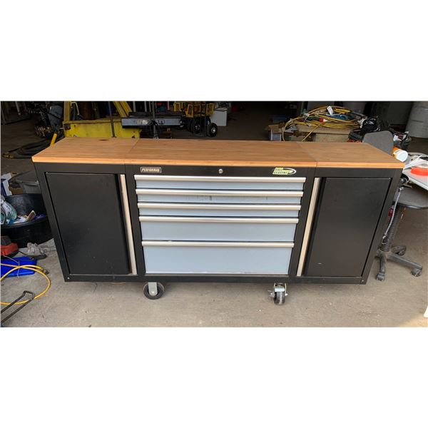 PERFORMAX TOOL CHEST; MEASUREMENT: 70.75 INCH OVERALL LENGTH, 36 INCH DRAWERS, 17 SHELVES/SIDE CABIN