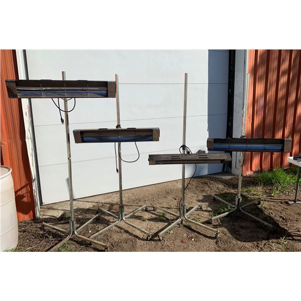 4-INFARED HEATERS; HEIGHT ADJUSTABLE ROLLING STANDS