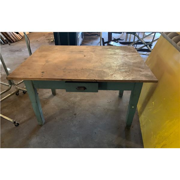 WORKTABLE WITH DRAWER; MEASUREMENTS; 49 INCHES LONG X 37 INCHES DEEP X 29 INCHES HIGH