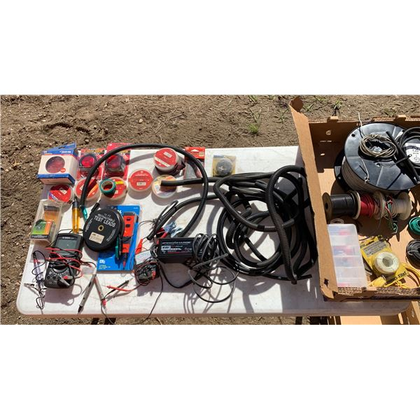 ELECTRICAL LOT; MISCELLANEOUS TAPE; MISC WIRE; BOSCH MULTI-METER; BATTERY CHARGER; TEST LIGHT