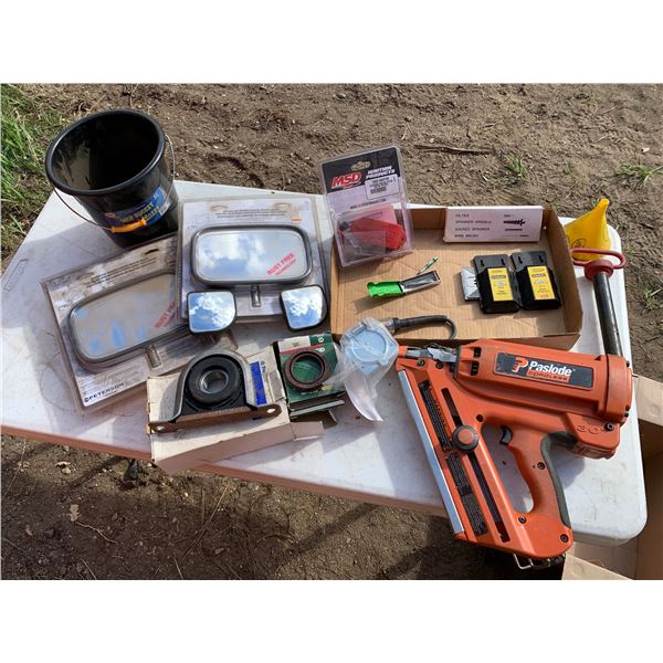 MISCELLANEOUS LOT; CORDLESS NAILER (NO CHARGER OR EXTRA BATTERIES); HITCH PIN; MOP BUCKET; MIRRORS,