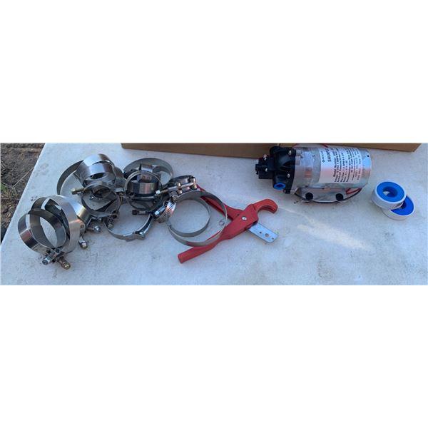 12V SPRAYER PUMP; ASSORTED HOSE CLAMPS; PVC/HOSE CUTTER