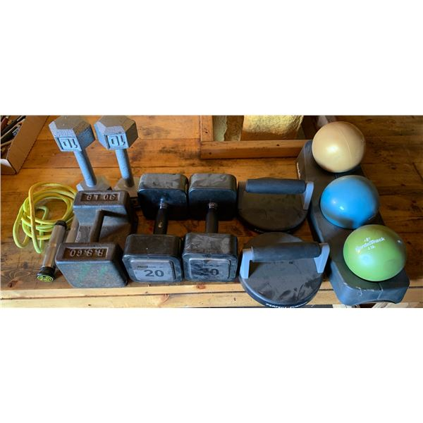 DUMBBELLS; JUMP ROPE; PERFECT PUSHUP; WEIGHTED BALLS