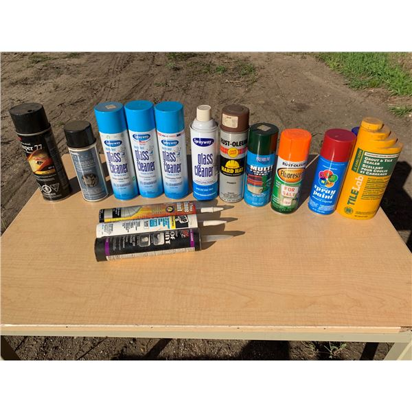 MISCELLANEOUS GLASS CLEANER AND SPRAY PAINTS