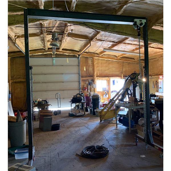 SHOP BUILT HEAVY DUTY HOIST WAY ON WHEELS; JET 1 _ TON CHAIN HOIST; MEASUREMENTS; 11 FT HIGH X 9 FT