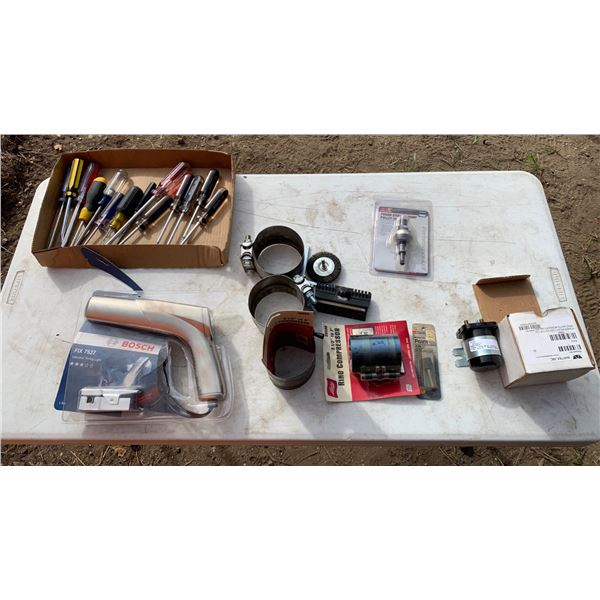 MISCELLANEOUS LOT; TIMING LIGHT; SCREW DRIVERS; RING COMPRESSORS
