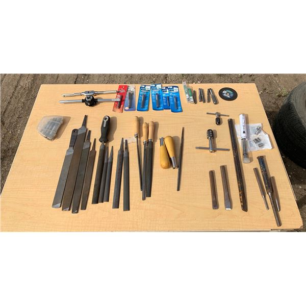 ASSORTED TAP & DIES; FILES; CHISELS
