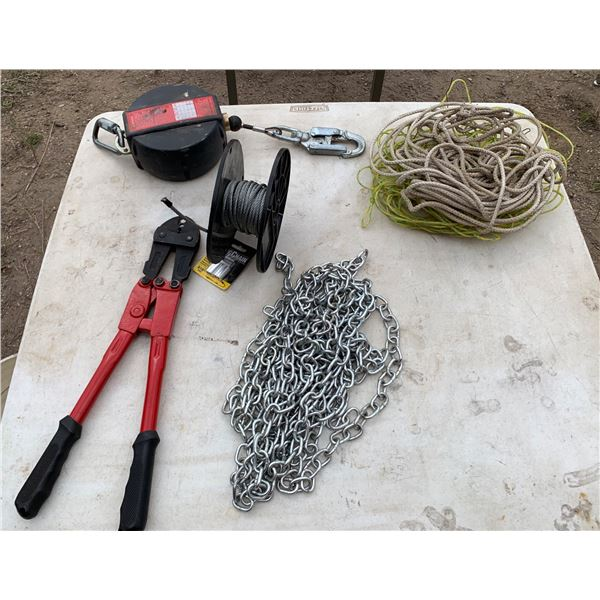 CHAIN; FENCE CRIMPING TOOL, RETRACTABLE CABLE, CABLE