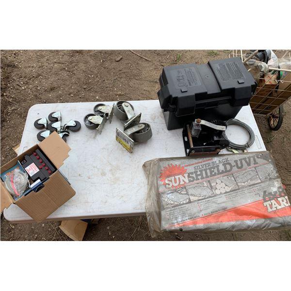 TARP; BATTERY BOX; MISCELLANEOUS WHEELS; HAND WINCH; LAWN MOWER BATTERY