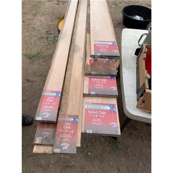 SOLID OAK BOARDS; 6-1-INCH X 4 INCH X 8 FT; 4-1 INCH X 8 INCH X 8 FT; 3-1 INCH X 2 INCH X 8 FT; 1-1