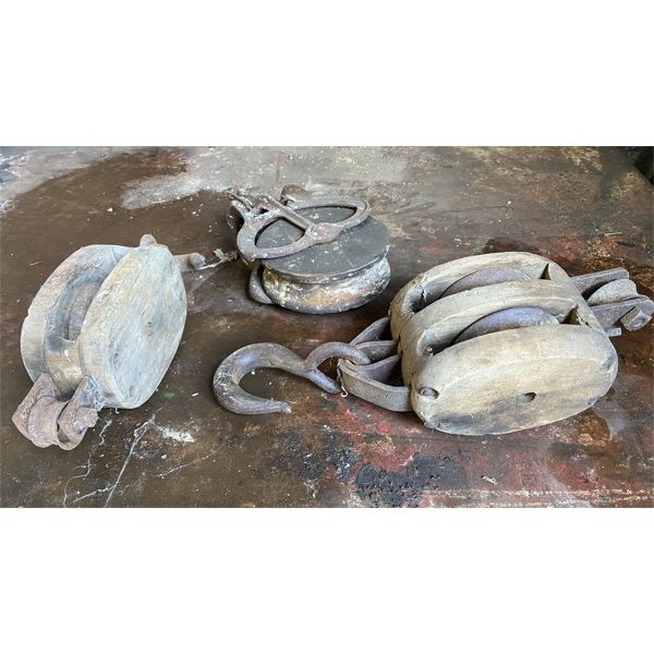 LOT OF 3 - ANTIQUE PULLEYS