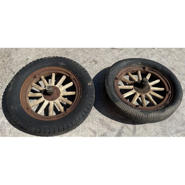 LOT OF 2 - ANTIQUE CHEV WHEELS WITH WOODEN SPOKES