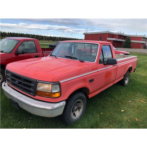 1995 FORD F-150XL, 2DR, REGULAR CAB PU, RED, VIN#1FTEF15N8SLB33122
