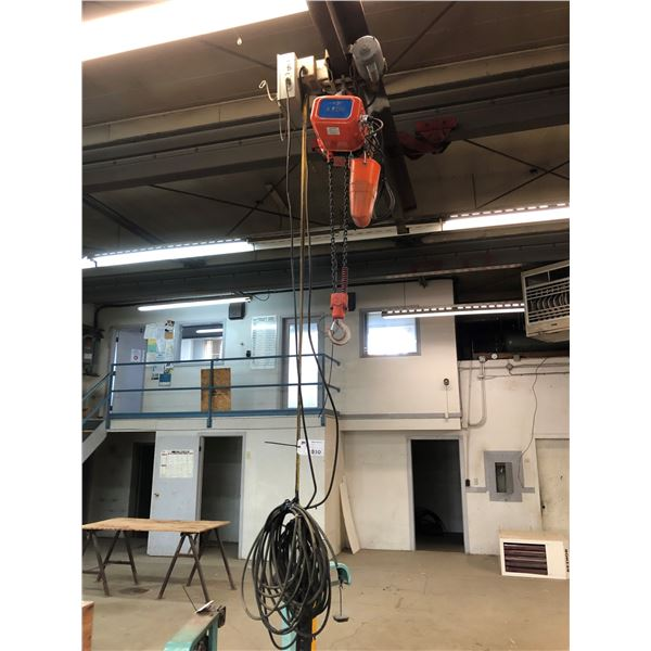 JET 2TON ELECTRIC CHAIN HOIST WITH TROLLY  & PENDANT CONTROL