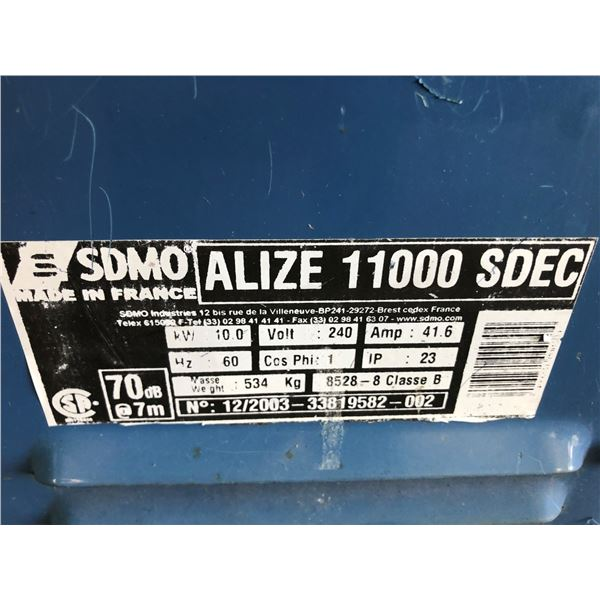 SDMO ALIZE 11000 SDEC 10 KW GENERATOR WITH ELECTRICAL 91.83 HOURS *HOURS NOT VERIFIED* & CONTROLS