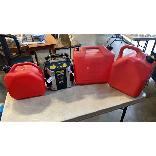 STANLEY JUMP START BATTERY PACK AND 3 JERRY CANS