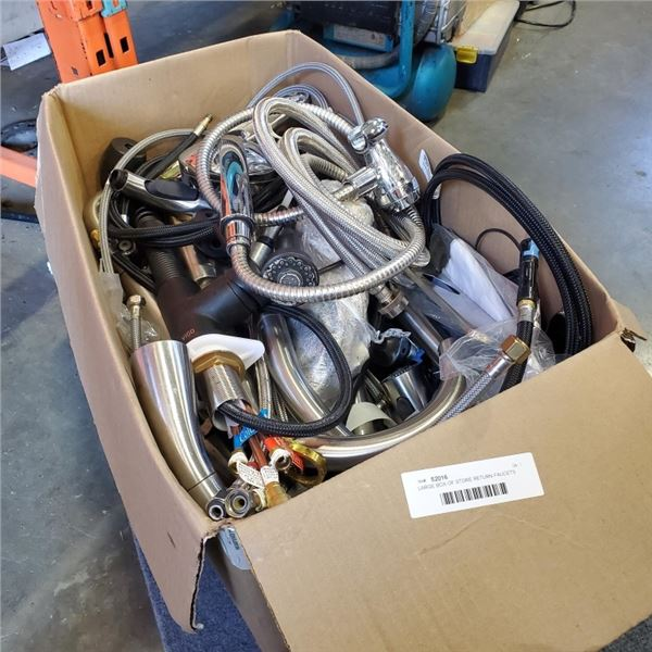 LARGE BOX OF STORE RETURN FAUCETS AND PARTS