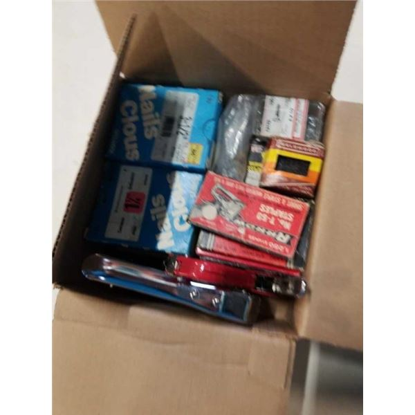 2 HEAVY DUTY STAPLERS WITH PACKAGED NAILS AND SCREEWS