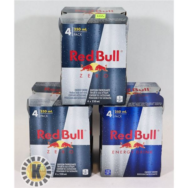THREE ASSORTED 4 PACKS OF RED BULL