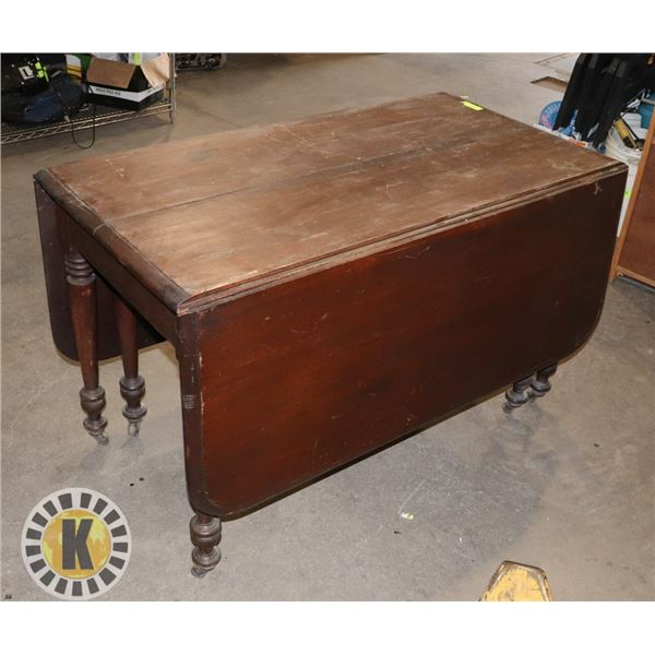 """ANTIQUE WOODEN FOLDABLE TABLE 29"""" BY 47"""" BY  63"""""""
