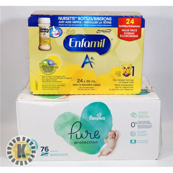 BOX OF NEWBORN DIAPERS 76 COUNT SOLD WITH